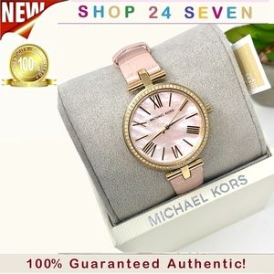 NWT Michael Kors Maci Blush Leather Watch MK2790